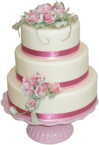 Pink shabby chic wedding cake