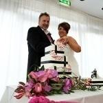 Fuschia Lily Wedding Cake Leicester