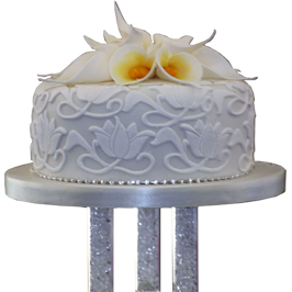Calla Lily Monogram Wedding Cake
