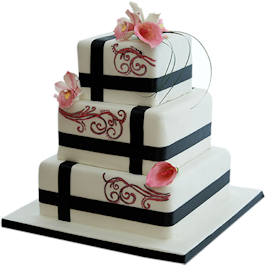 Fuschia Lily Wedding cake Nottingham