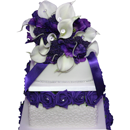 Purple Rose Cornelli Wedding Cake