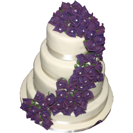 Purple trailing rose wedding cake derbyshire