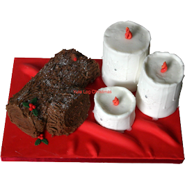 Yule log seasonal cake