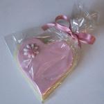 Pink heart butter cookie wedding favour