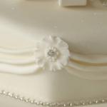 Iced bow & drape single tier wedding cakes derby nottingham london