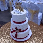 Quilted Wedding Cake with Diamante Brooch